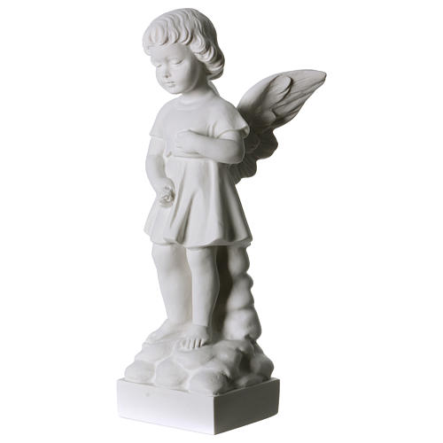 Angel and flowers in Carrara marble 30 cm 2