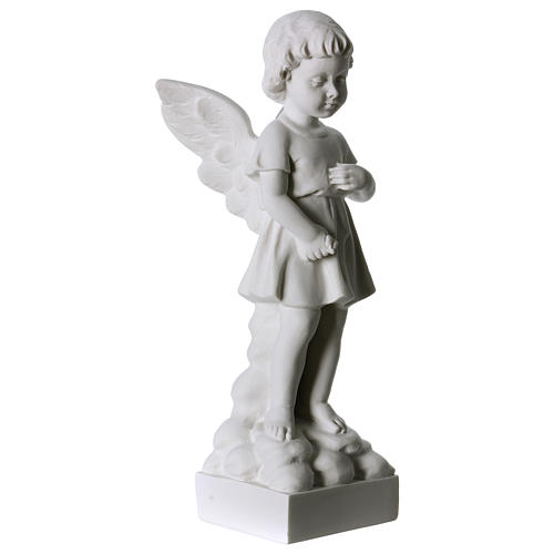 Angel and flowers in Carrara marble 30 cm 3