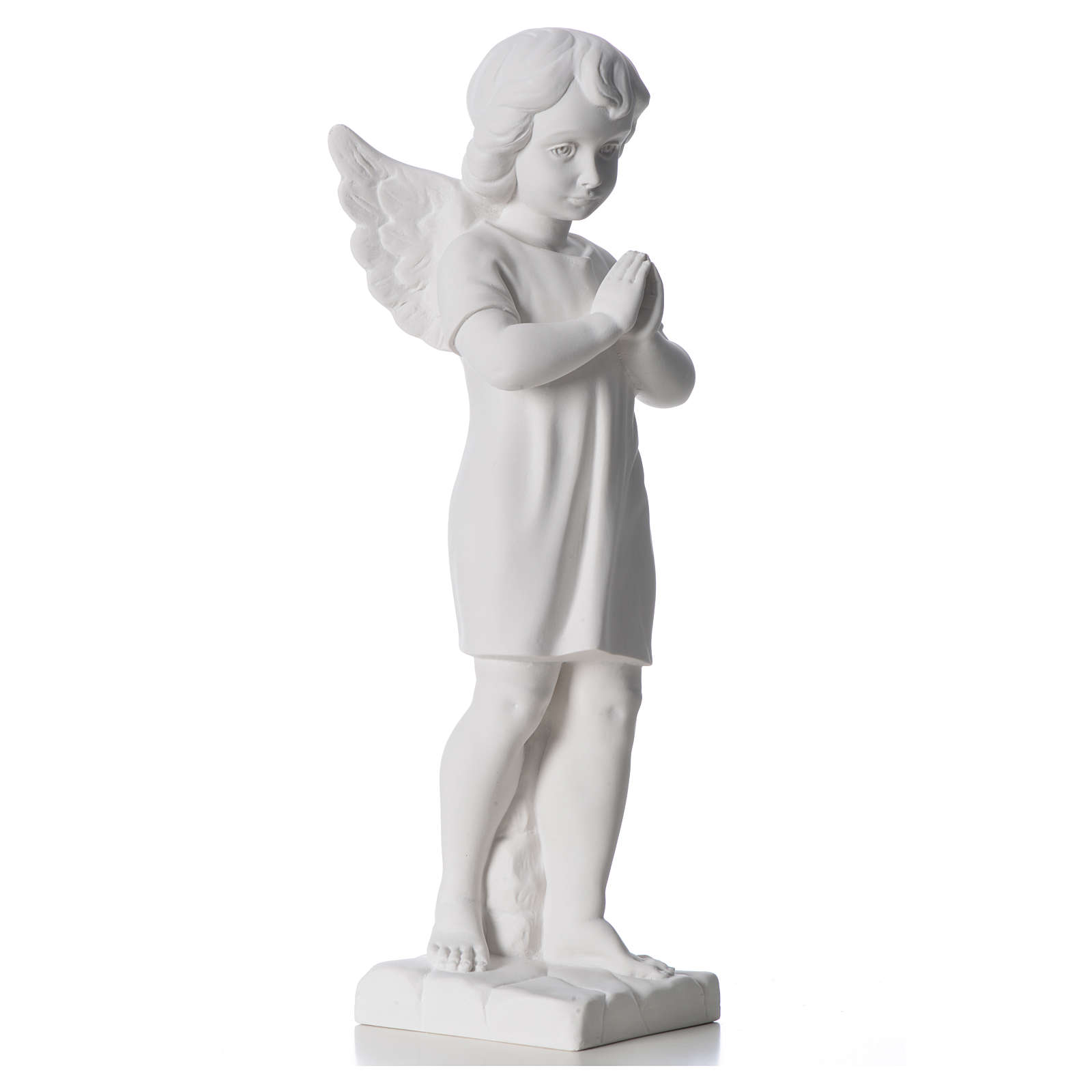 Angel with hands joined in composite white Carrara marble 45 cm 4