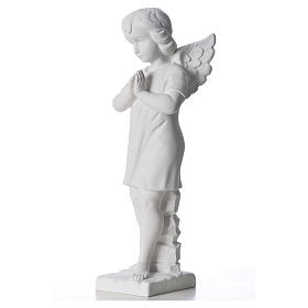 Angel with hands joined in composite white Carrara marble 45 cm s6