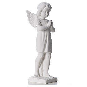 Angel with hands joined in composite white Carrara marble 45 cm s8