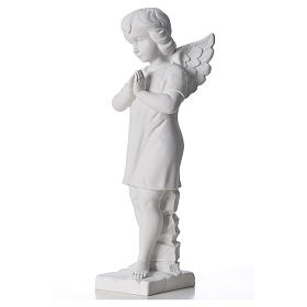 Angel with hands joined in composite white Carrara marble 45 cm s2