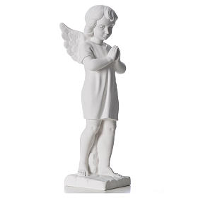 Angel with hands joined in composite white Carrara marble 45 cm s4
