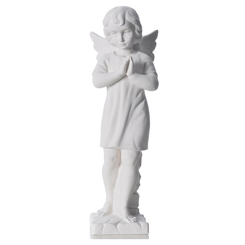 Angel with hands joined in composite white Carrara marble 45 cm 5