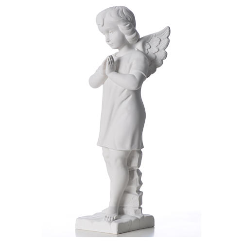 Angel with hands joined in composite white Carrara marble 45 cm 6