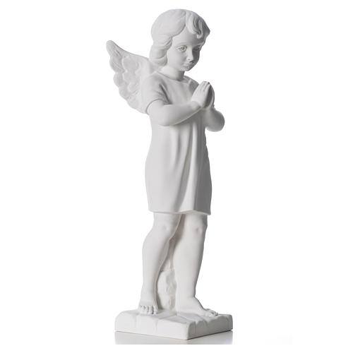 Angel with hands joined in composite white Carrara marble 45 cm 8