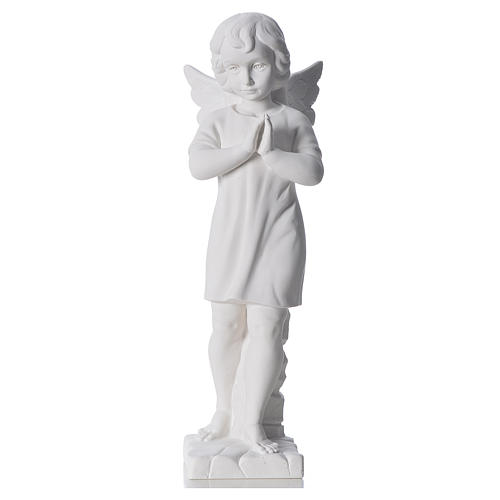 Angel with hands joined in composite white Carrara marble 45 cm 1