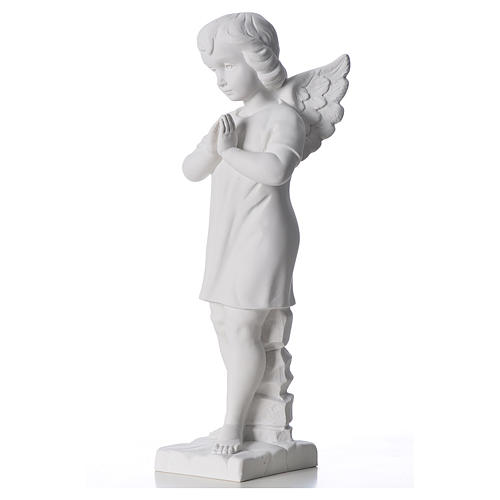 Angel with hands joined in composite white Carrara marble 45 cm 2
