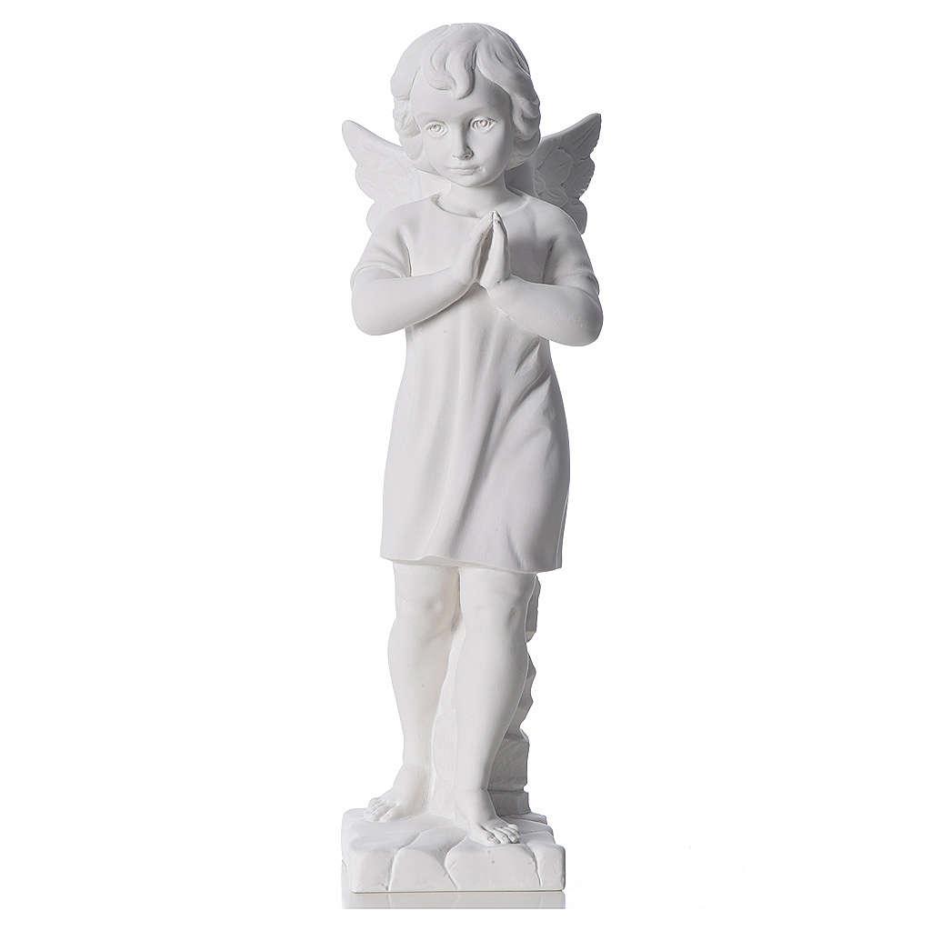 Angelo mani giunte marmo bianco Carrara 45 cm 4
