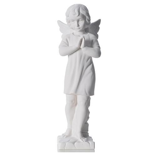 Angelo mani giunte marmo bianco Carrara 45 cm 5