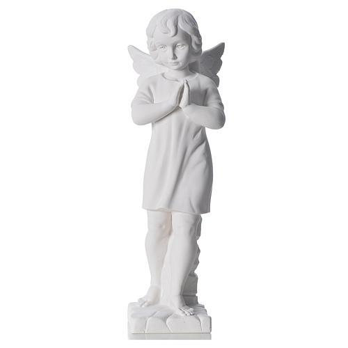 Angelo mani giunte marmo bianco Carrara 45 cm 1