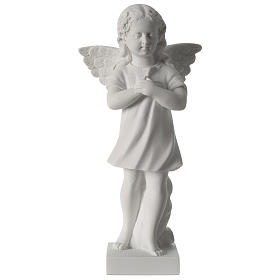 Angel with hand over heart, 30 cm reconstituted marble statue s1