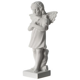 Angel with hand over heart, 30 cm reconstituted marble statue s3