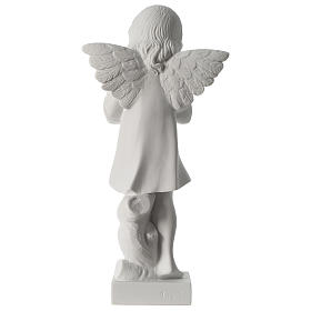 Angel with hand over heart, 30 cm reconstituted marble statue s5