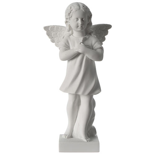 Angel with hand over heart, 30 cm reconstituted marble statue 1