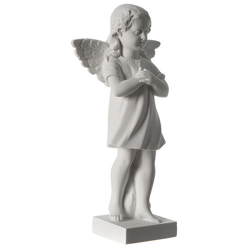 Angel with hand over heart, 30 cm reconstituted marble statue 4