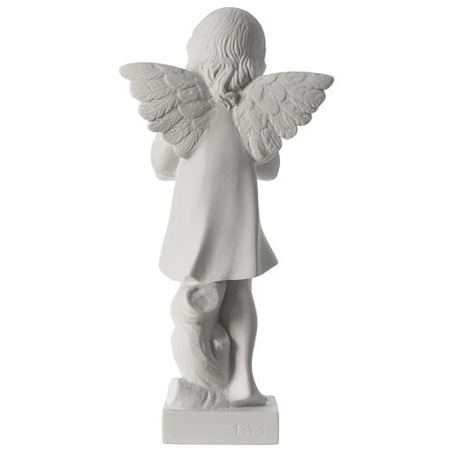 Angel with hand over heart, 30 cm reconstituted marble statue 5