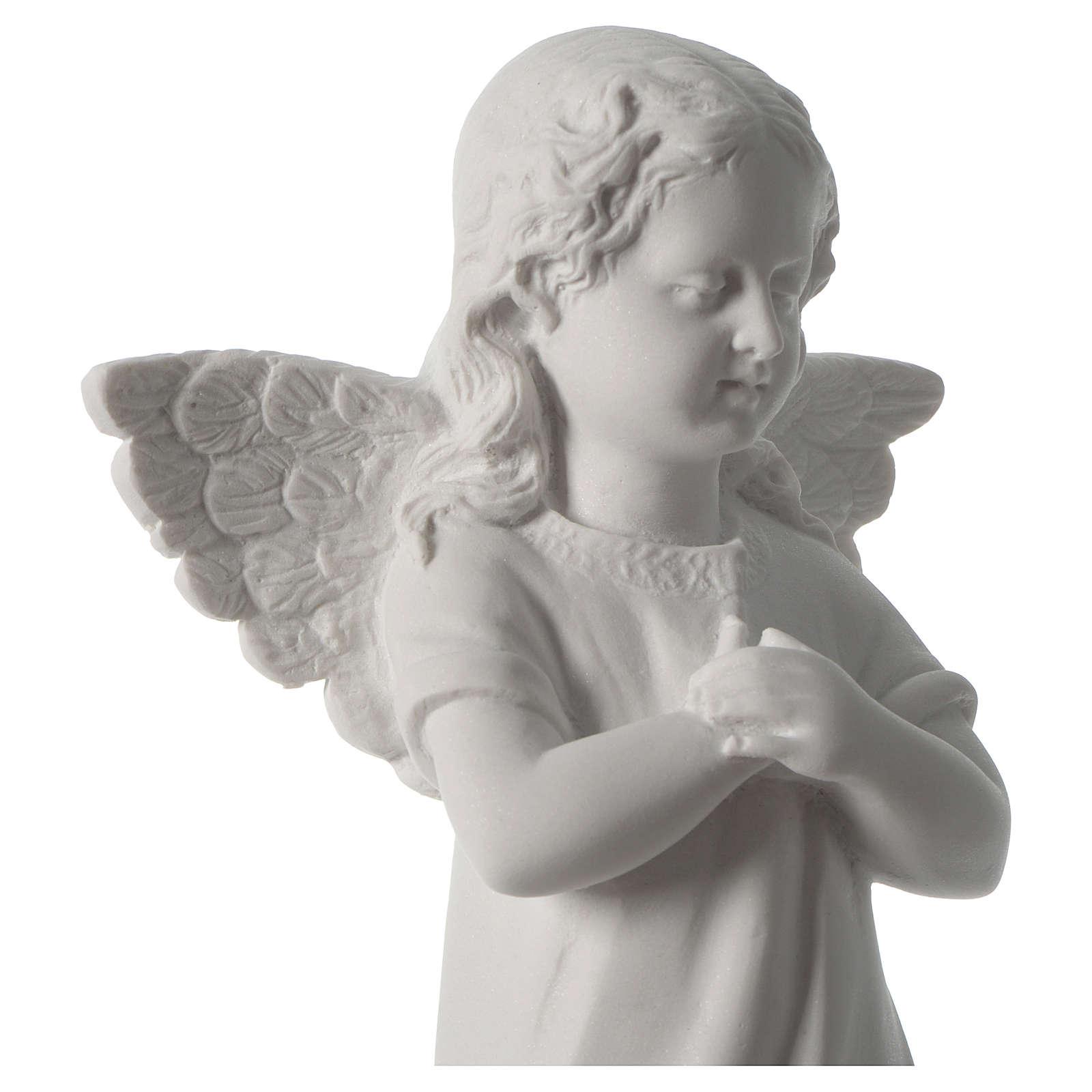 Angelot main sur le coeur marbre blanc 4