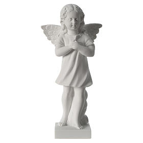 Angel with hand over heart, 30 cm reconstituted marble statue s2