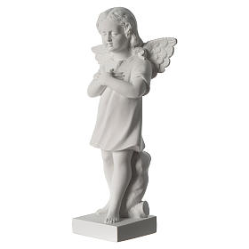 Angel with hand over heart, 30 cm reconstituted marble statue s4