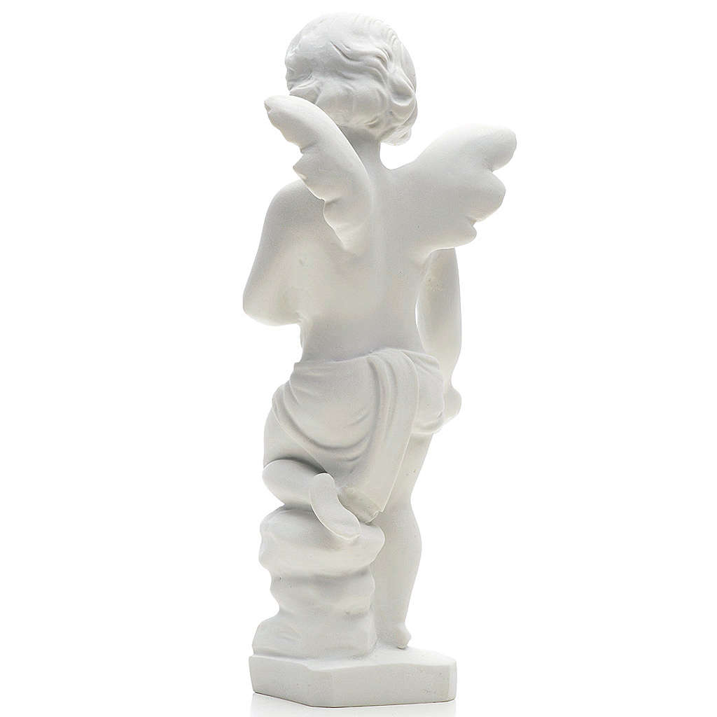 Angel and flowers in Carrara marble 9,84 in 4