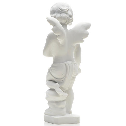 Angel and flowers in Carrara marble 9,84 in 2