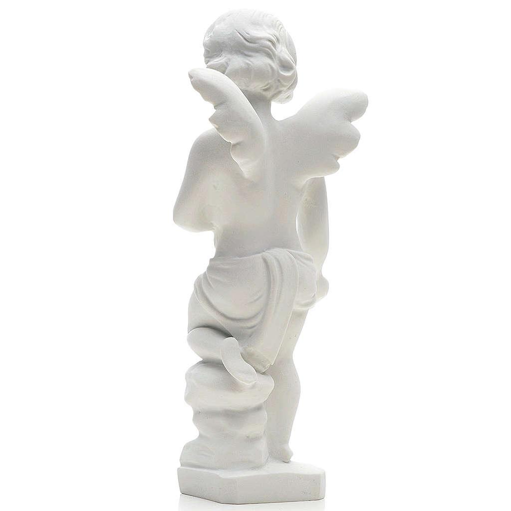 Statue extérieur Angelot marbre blanc 25 cm 4