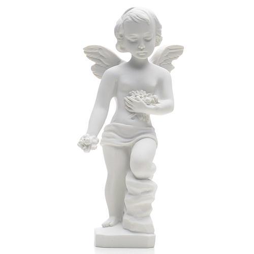 Statue extérieur Angelot marbre blanc 25 cm 1