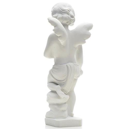 Statue extérieur Angelot marbre blanc 25 cm 2