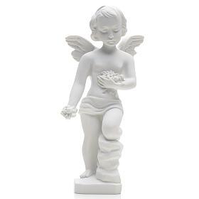 Anjo pequeno com flores 25 cm mármore