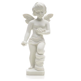 Angel and flowers in Carrara marble 9,84 in s3