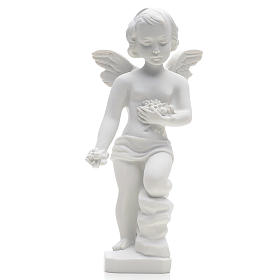 Angel and flowers in Carrara marble 9,84 in s1