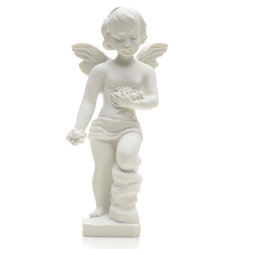 Angel and flowers in Carrara marble 9,84 in 3