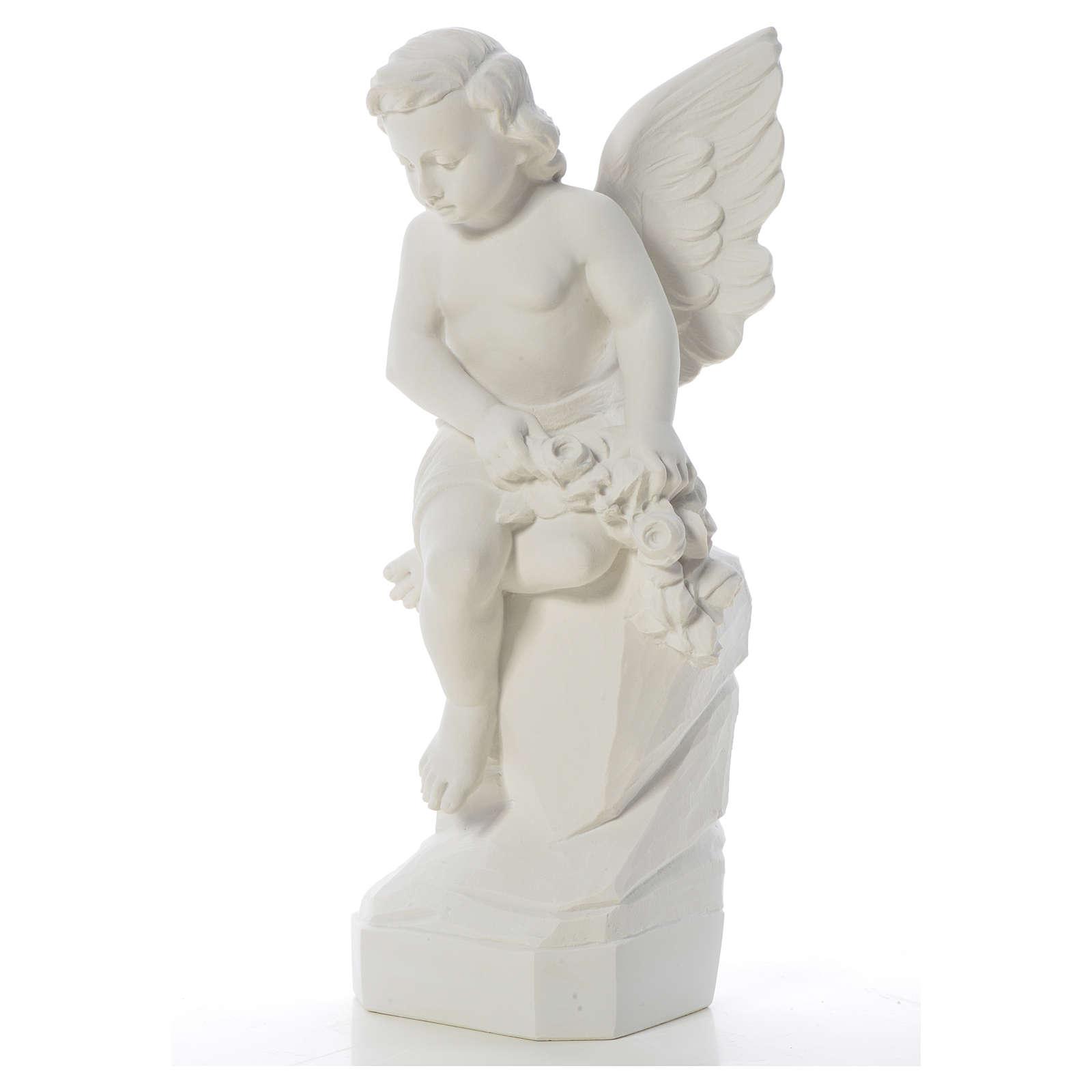 Ange assis marbre 45 cm statue extérieur 4