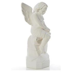 Ange assis marbre 45 cm statue extérieur s8
