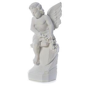 Ange assis marbre 45 cm statue extérieur s2