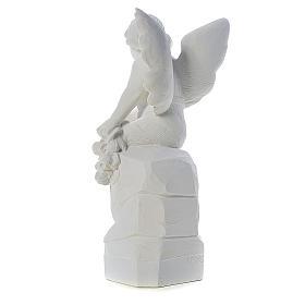 Ange assis marbre 45 cm statue extérieur s3