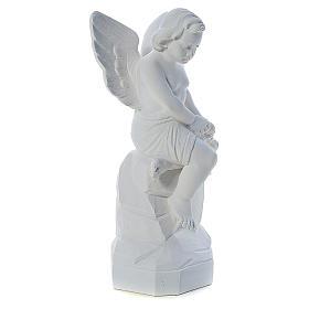 Ange assis marbre 45 cm statue extérieur s4