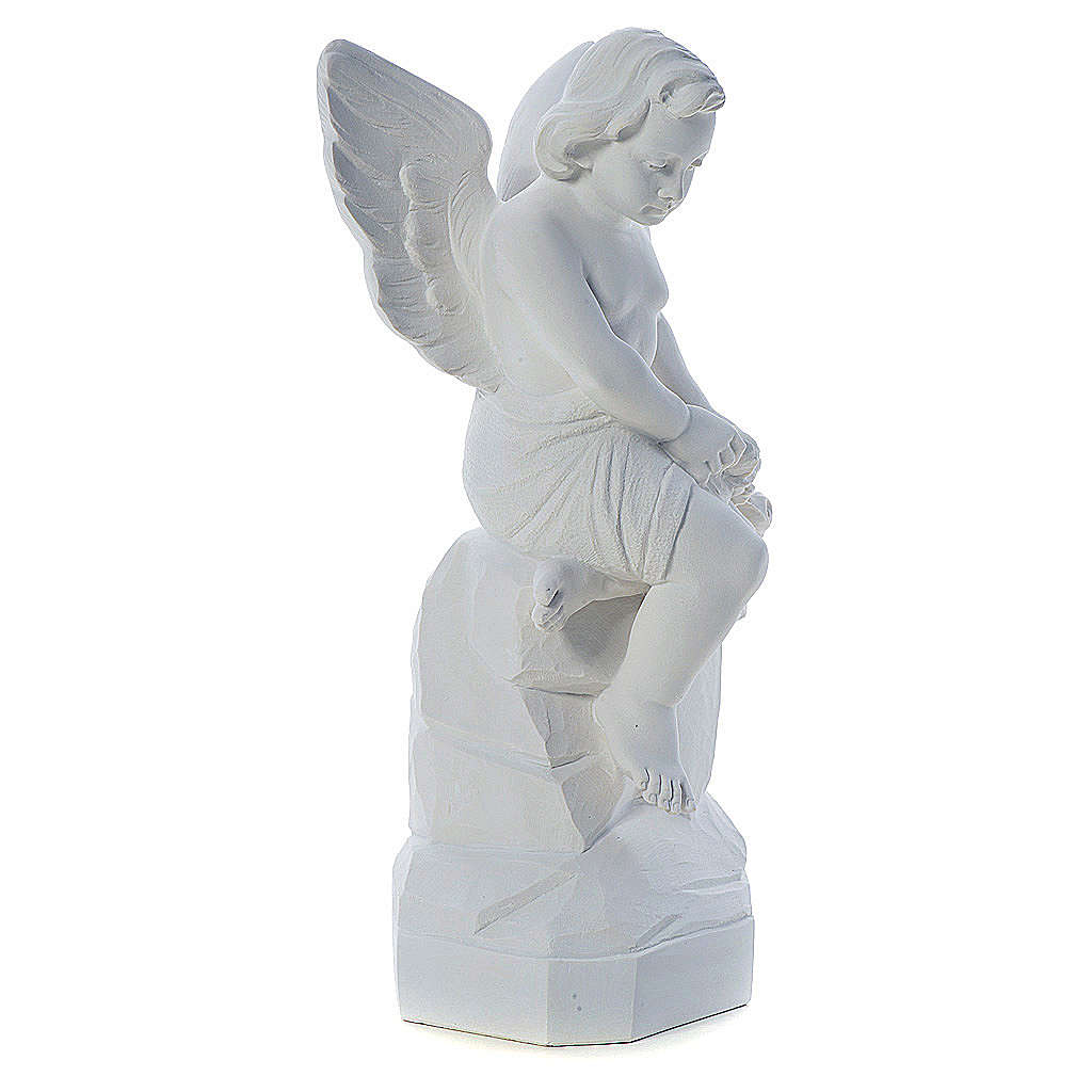 Angelo seduto 45 cm polvere di marmo 4