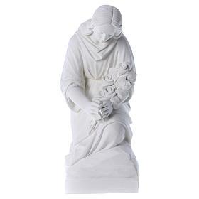 Statues en marbre reconstitué: Ange à genoux marbre 60 cm statue extérieur