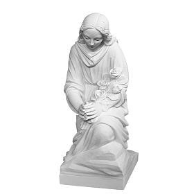 Angelo in ginocchio 60 cm polvere di marmo s1