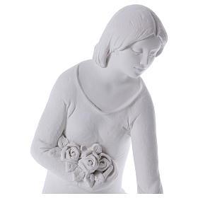 Ange à genoux avec fleurs marbre 55 cm s2