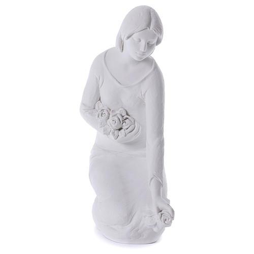 Ange à genoux avec fleurs marbre 55 cm 1
