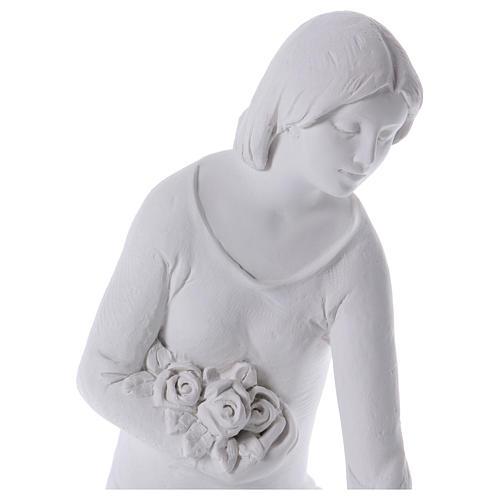 Ange à genoux avec fleurs marbre 55 cm 2