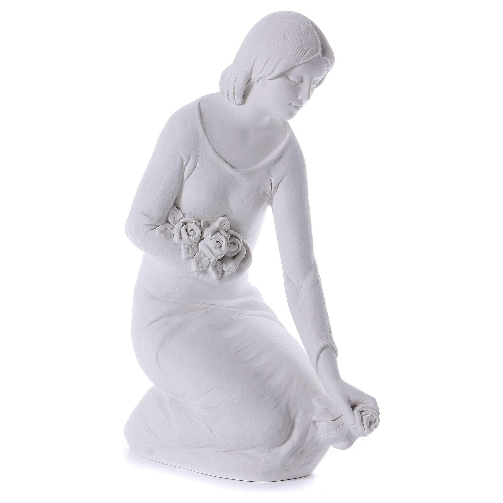 Angelo gettafiori in ginocchio 55 cm marmo 4