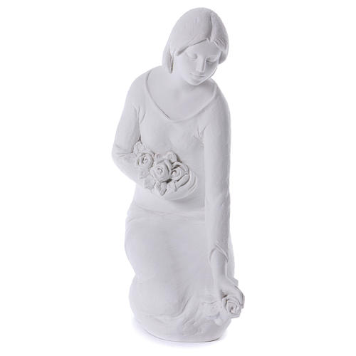 Angelo gettafiori in ginocchio 55 cm marmo 1