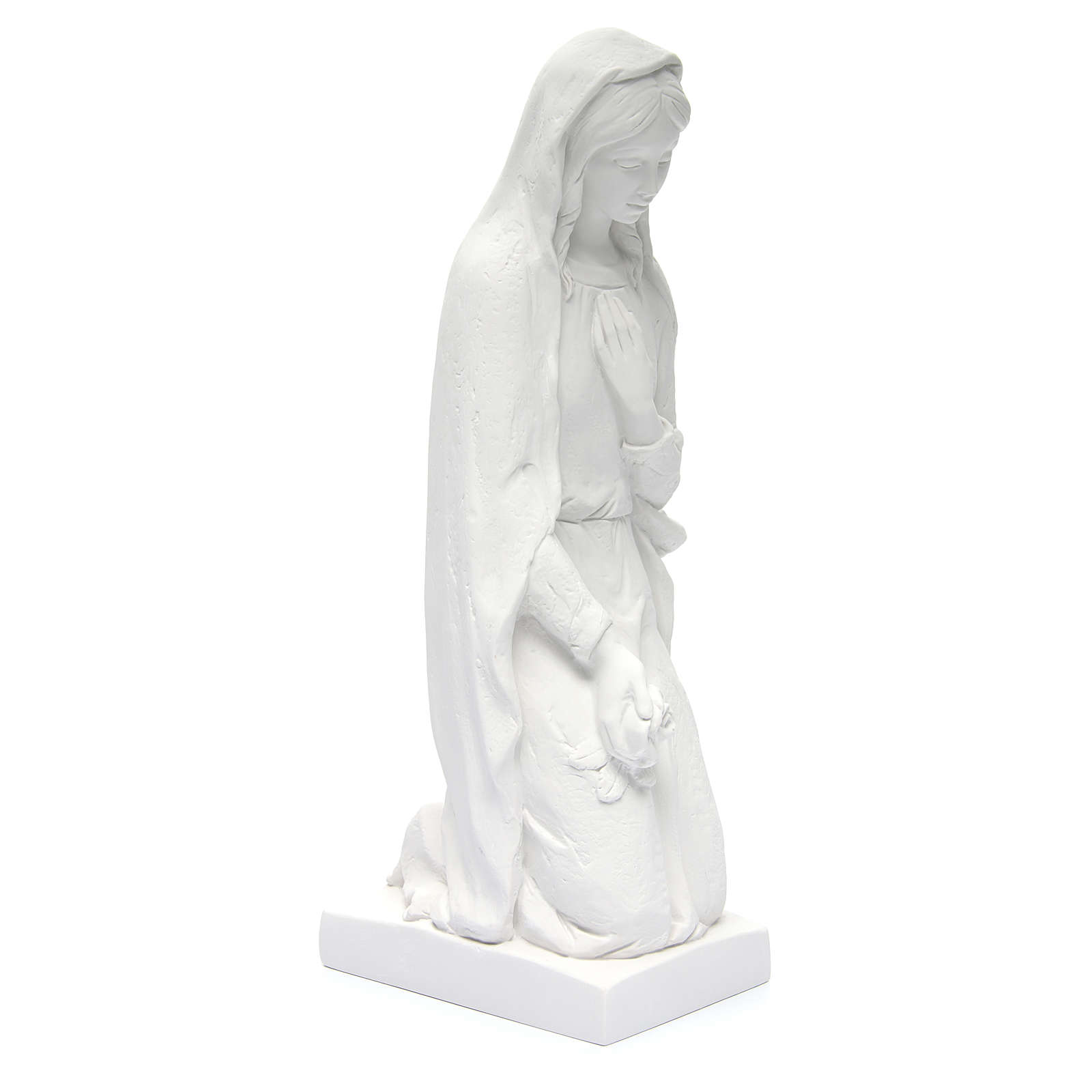 Angel with flowers and hand on heart in white Carrara marble 23, 4
