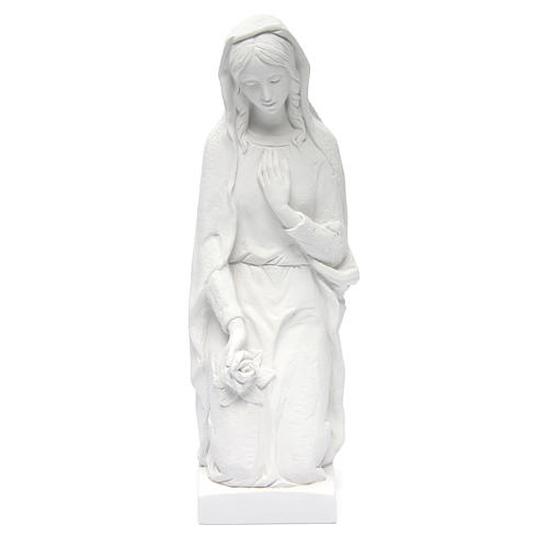 Angel with flowers and hand on heart in white Carrara marble 23, 1