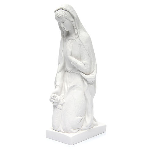 Angel with flowers and hand on heart in white Carrara marble 23, 2