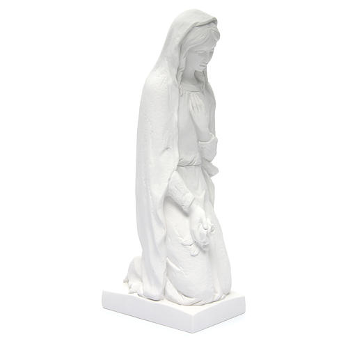 Angel with flowers and hand on heart in white Carrara marble 23, 3